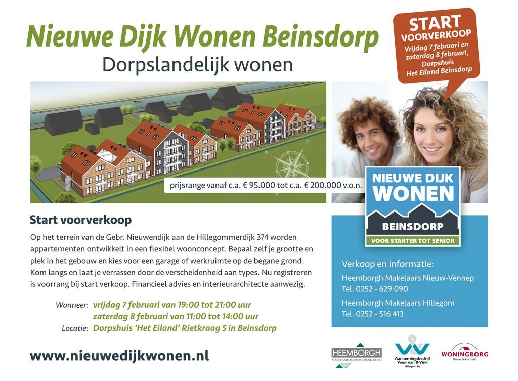 BEINSDORP - Start voorverkoop Nieuwe Dijk Wonen - Westvast BV
